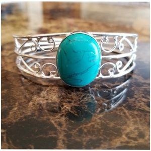"""Jewelry - Turquoise Bangle. 3 inch width fits 7.5 to 9"""""""